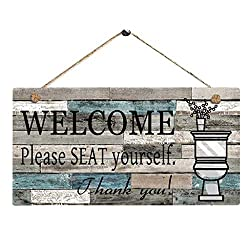 IslandseWelcom Please SEAT Yourself Printed Wooden Plaque Sign Wall Hanging Welcome Sign