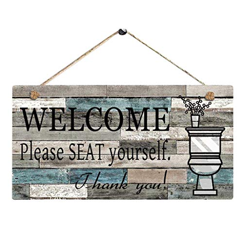 Transser Printed Wood Plaque Sign Wall Hanging Welcome Sign Please Seat Yourself Wall Art Sign Decor for Home, Restaurant, Bar