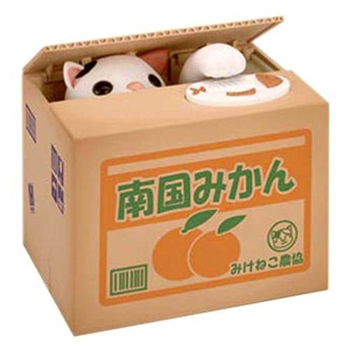 Qiyun Stealing Coin Cat Piggy Bank - White Kitty Shipping with a Qiyun Balloon