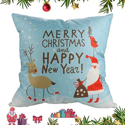Luxbon Merry Christmas Pillow Case Santa Claus Reindeer Snowman Snowflake Christmas Tree Xmas Couch Sofa Cushion Cover Cotton Linen Happy New Year Home Decor Throw Pillow Cover 18 x 18'' ()