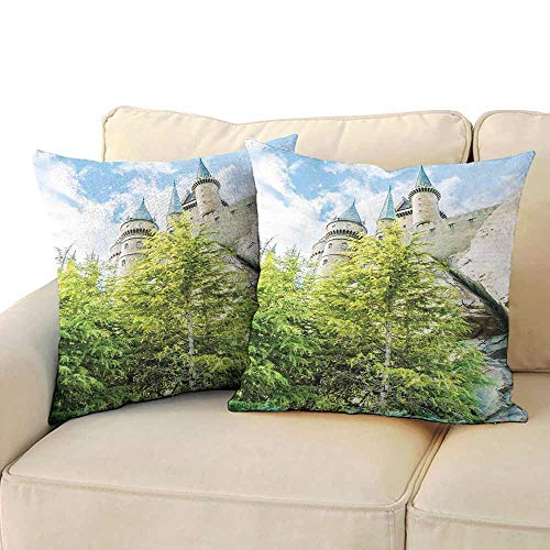 Personalized Pillowcase Wizard Witchcraft School and Wizard Castle in Woods Replica in Japan Picture Print Protect The Waist W 24