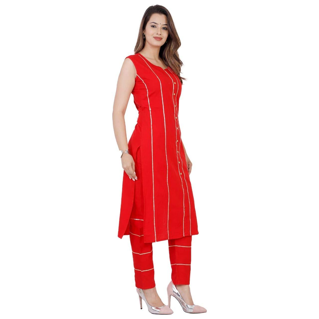 Red Color Cotton Flex Printed Kurti W Golden Goti Work