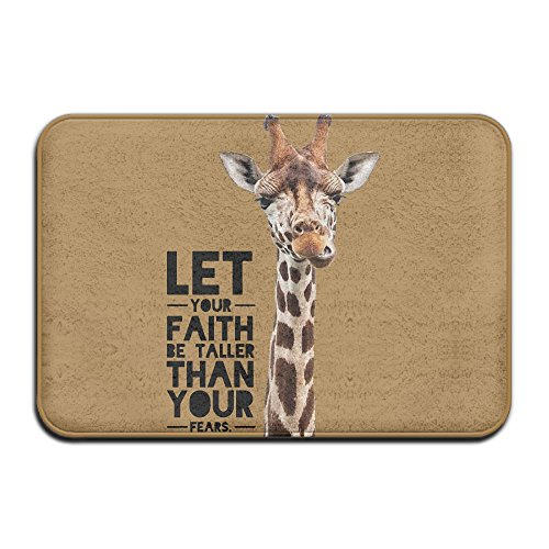 Giraffe Faith Taller Non-slip Outside/Inside Floor Mat For Health And Wellness Kitchen Hallway Bath Office Bathroom Doormat 23.6''x 15.7'' by EWD8EQ
