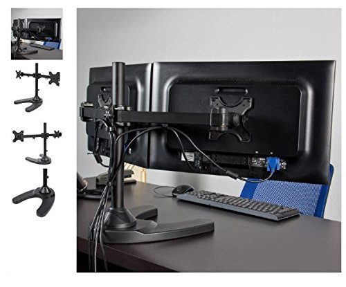 Quality Hardware - Dual LCD Monitor Desk Stand/Mount - Free Standing Adjustable 2 Screens up to 24