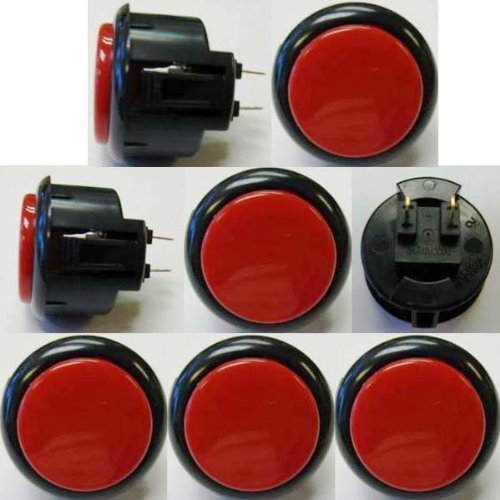 Japan Sanwa 8 Pcs OBSF-30 Black & Red OEM Arcade Push Button