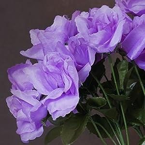 BalsaCircle 84 Lavender Silk Open Roses - 12 Bushes - Artificial Flowers Wedding Party Centerpieces Arrangements Bouquets Supplies 3
