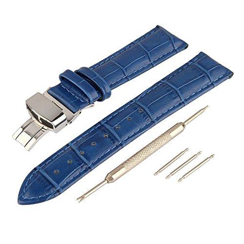 Beauty7 Blue 18mm Genuine Leather Calfskin Watch Band Str...