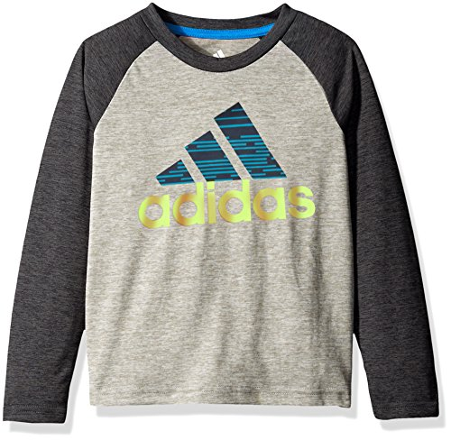 adidas Little Boys' Core Graphic Long Sleeve Tee, Black Heather, 5