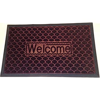 "Large Brown Welcome Mat (29"" x 17 1/2"") - Low Profile Indoor/Outdoor - Washable - Scrape Dirt, Grass and Snow - Textured Grip Bottom"