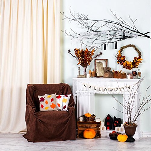 10x10 ft Interior Halloween Photography Backdrop Digital White Fireplace with Holiday Decorate Curtain Chair Indoor Photo Booth Background for Studio