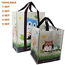 COMBO SET (5 XL + 5 Mini = 10 Pcs) EcoJeannie Super Strong Laminated Woven Reusable Shopping Tote Bags (Avail:1,2,3,4,5 Sets),Free Standing,Recycled Plastic/Bottom Board&Reinforced Nylon Handle,WCS051