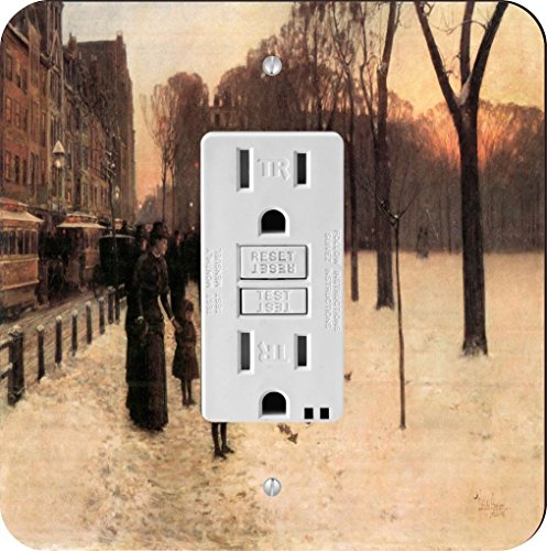 Rikki Knight 2956 GFI Single Childe Hassam Art Boston In Everyday Twilight Design Light Switch Plate by Rikki Knight