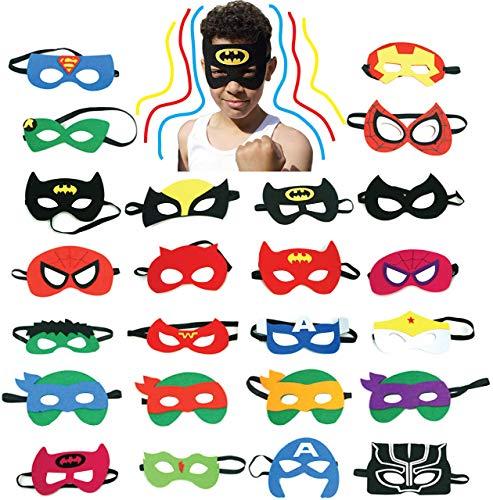 JKA 24 Felt Superhero Masks for Kids - Birthday Parties Supplies, Gift Bag, Party Favor, Cosplay, Christmas Stocking Filler -