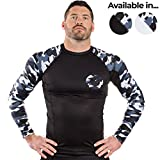 Gold BJJ Jiu Jitsu Rashguard - Launch Special! Camo Long Sleeve Rash Guard Compression Shirt for No-Gi, Gi, MMA (Black Camo, M)