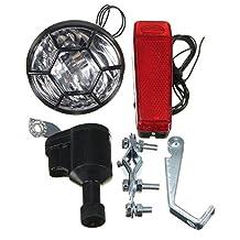 ILS - 6V 3W Motorized Friction Generator Dynamo Head Taillight w/ Accessories