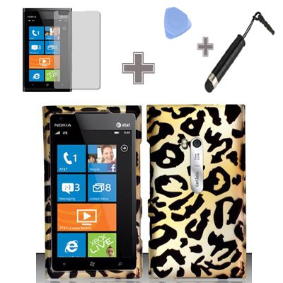 (4 Items Combo : Case - Screen Protector Film - Case Opener - Stylus Pen) Rubberized Yellow Gold Black Cheetah Leopard Snap on Design Case Hard Case Skin Cover Faceplate for Nokia Lumia 900 (AT&T)