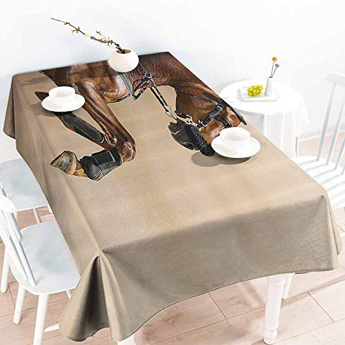 Fabric Dust-Proof Table Cover Animal Decor Collection Chestnut Color Horse Jumping in a Hackamore Life Force Power and Honor Love Sign Print Brown Cream Party W50 xL80