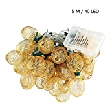 AOLVO Pineapple String Lights Outdoor, 40 LED Battery Operated Lantern String Lights 8 Modes Changing for Patio Christmas Home Bedroom Wedding Birthday Party Decoration (5m/16.4ft, Warm White)
