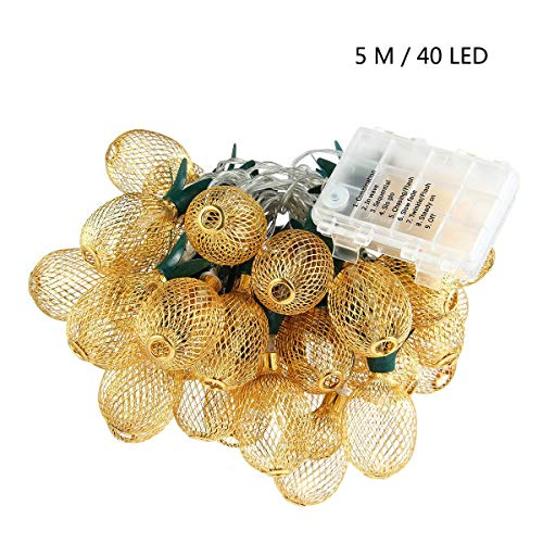 Pineapple String Lights, 200in/5m 40 LED Bulbs Waterproof Battery Operated Lantern String Lights with Battery Box Fairy Lights for Wedding Garden Festival Party Halloween Christmas Indoor & Outdoor by Umiwe (Image #3)