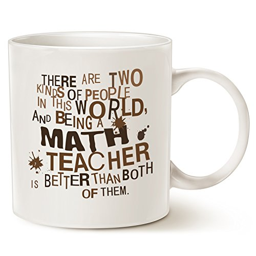 Funny Teacher Coffee Mug, Best Christmas Gift for Math Teacher Ceramic Cup White, 14 Oz by (Customised Gifts)