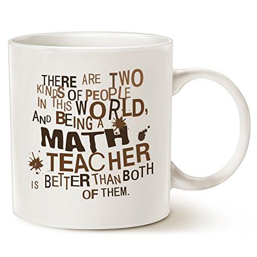 Funny Teacher Coffee Mug, Best Christmas Gift for Math Teacher Ceramic Cup White, 14 Oz by LaTazas