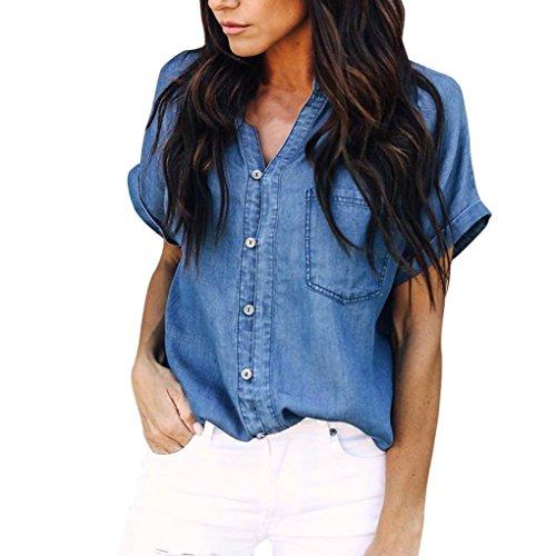 Inverlee Women Casual Soft Denim Shirt Tops Blue Jean Button Short Sleeve Blouse Jacket (L, Dark ()