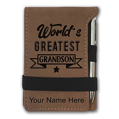 Mini Notepad, World's Greatest Grandson, Personalized Engraving Included (Dark Brown) by SkunkWerkz