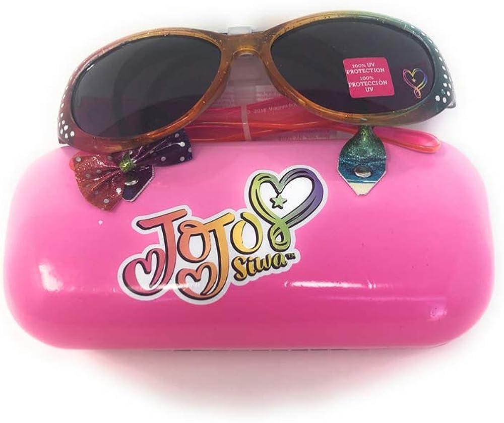Jojo Siwa Girls Wayfarer Style Sunglasses and Handled Hard Case Set Pink//Silver