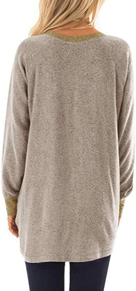 TRGCJGH Damen Langarm Color Block Tunika Tops Sweater Casual Crewneck Sweatshirt Mit Taschen Loose Casual Bluse Shirts,Leopardgray-XL Leopardgray-s