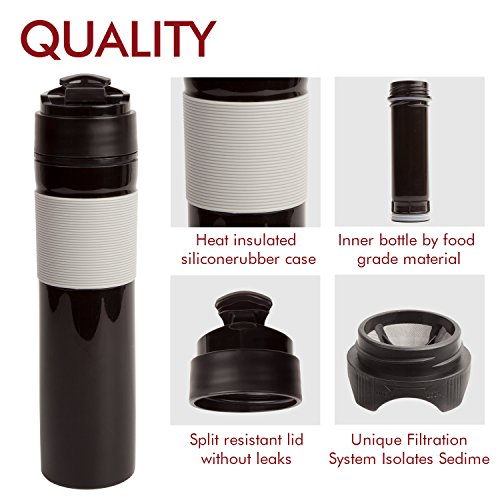 AmoVee French Press Travel Coffee Press Mug Tea and Coffee Maker Bottle, Hot and Cold Coffee Brewer, Travel Tumbler, 350ml/12oz