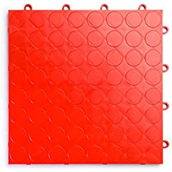 RaceDeck CircleTrac, Durable Interlocking Modular Garage Flooring Tile (48 Pack), Red