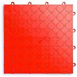RaceDeck CircleTrac, Durable Interlocking Modular Garage Flooring Tile (48 Pack), Red