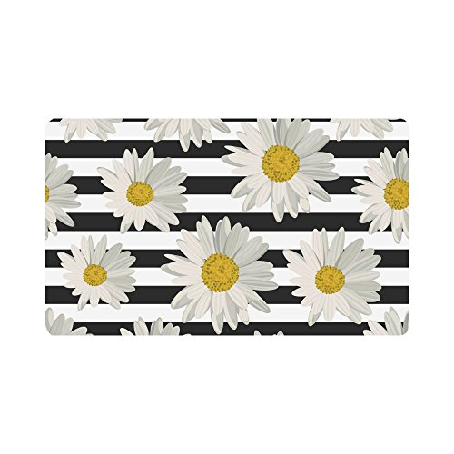 InterestPrint Abstract White Daisy on Striped Doormat Anti-Slip Entrance Mat Floor Rug Indoor/Outdoor/Front Door Mats Home Decor, Rubber Backing Large 30