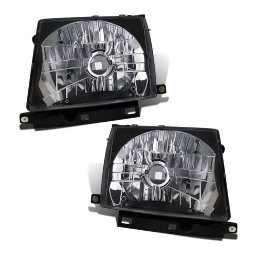SPPC Headlights Black Assembly Set For Toyota Tacoma - (Pair) Driver Left and Passenger Right Side Replacement (99 Toyota Tacoma Headlights)