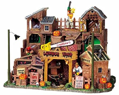 Lemax Spooky Town Chainsaw's Lumber Yard with Adaptor # 95802