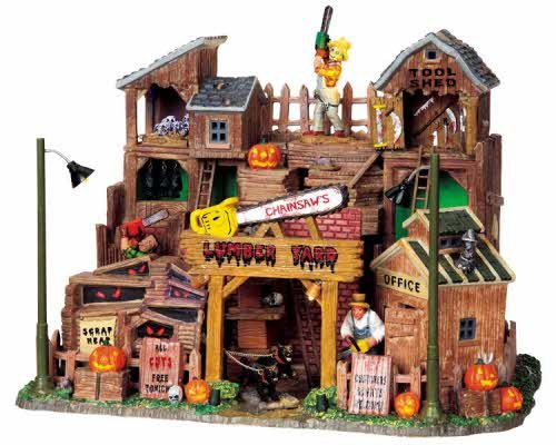 (Lemax Spooky Town Chainsaw's Lumber Yard with Adaptor #)