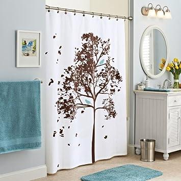 Farley Tree Fabric Shower Curtain W/ Blue Bird Print Reinforced Buttonhole  Header