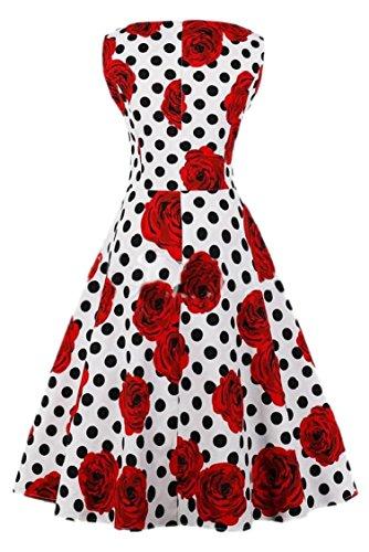 Dress Womens Floral Print Line 3 Sleeveless Swing Jaycargogo Party A 1950s zwqRdf6