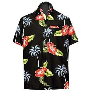 LA LEELA Men's Big and Tall Fashion Short Sleeve Hawaiian Shirt A