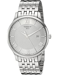 Tissot Mens Tradition Swiss Quartz Stainless Steel Dress Watch, Color:Silver-Toned (Model: T0636101103800)