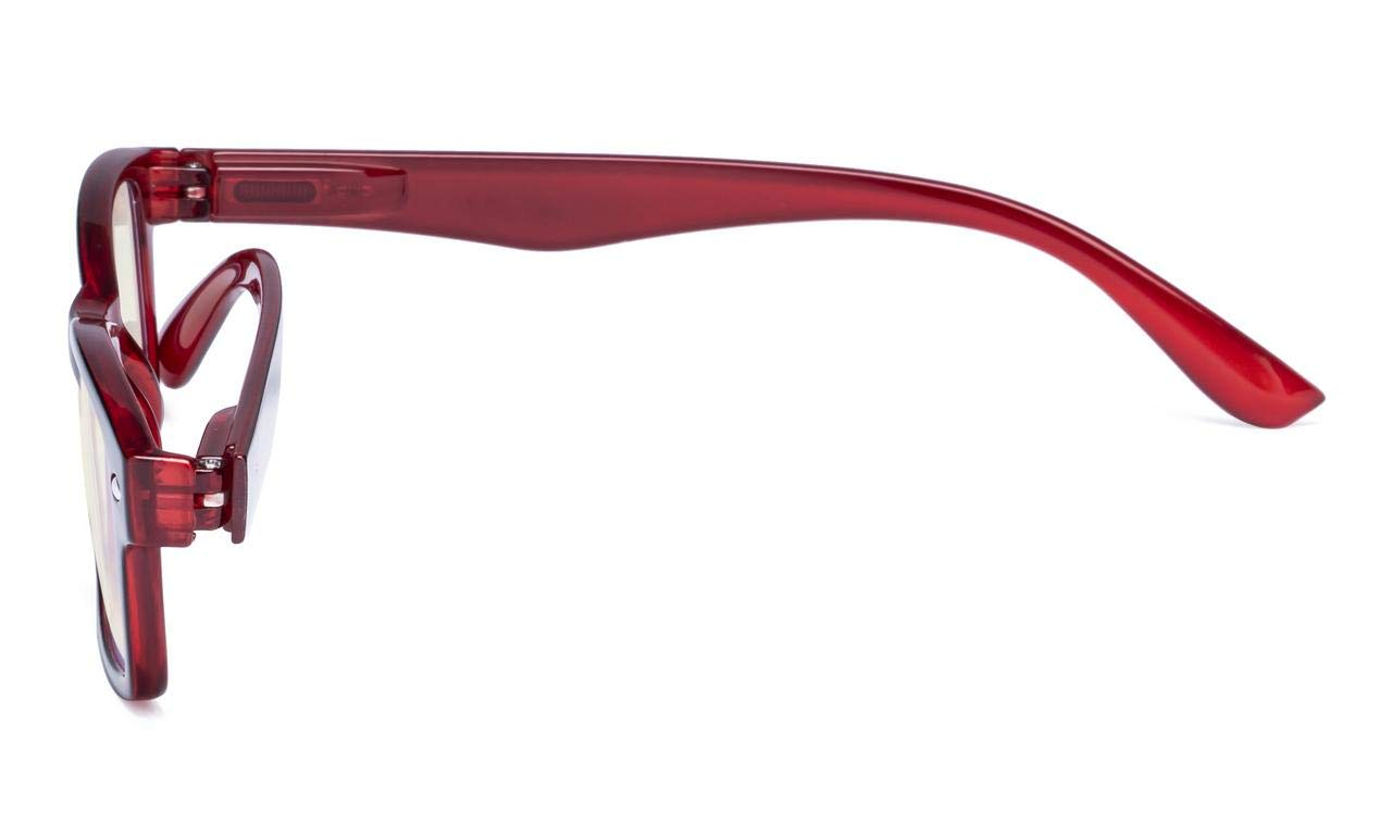 Anti Blue Rays Eyekepper Spring Hinges UV Protection Yellow Tinted Lenses, Black-Red +0.0 Scratch Resistant Lens Computer Eyeglasses Anti Glare