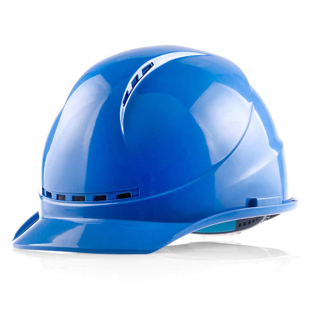Zhang Li Hard Hats Engineering Construction Helmet-ABS Helmet Construction Site Supervision Supervisor Electrician Labor Insurance Construction Engineering Breathable Hard Helmet (Color : Blue)