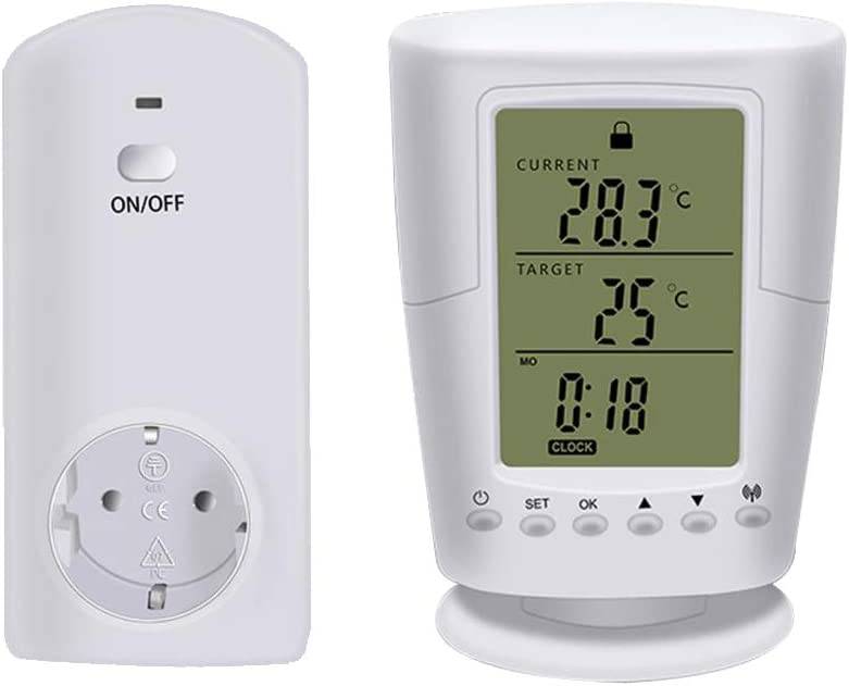 B Blesiya Ts-2000 Wireless Termostato con Control Remoto con Enchufe de Plug EU