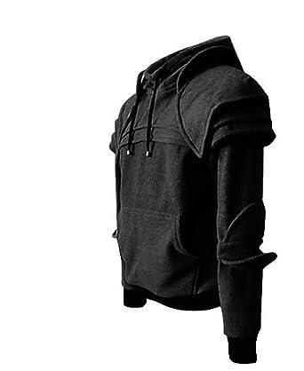 Kenebo Adult Men Knight Sweatshirt Armor Hoodie Warrior Retro Hooded Jacket  Coat Detachable Mask Elbow Buckle Top  Amazon.co.uk  Clothing 282295648a6fb