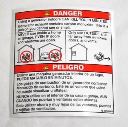 Amazon.com: Miller 233088 Label, Danger Using A Generator Indoors Can Kill: Home Improvement