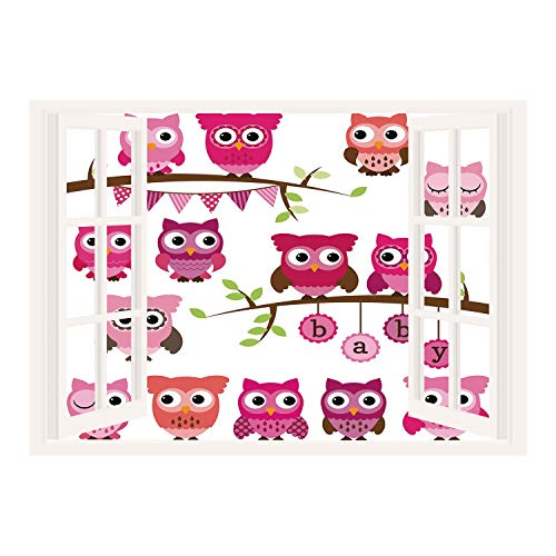 SCOCICI Peel and Stick Fabric Illusion 3D Wall Decal Photo Sticker/Nursery,Girl Baby Shower Themed Owls and Branches Adorable Cartoon Animal Characters,Purple Pink Brown/Wall Sticker Mural