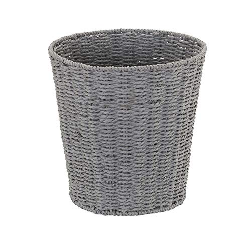 Household Essentials ML-7292 Wicker Waste Bin | Small Trash Can for Bathroom and Office | Grey