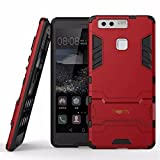 Heartly Huawei Ascend P9 Back Cover Graphic Kickstand Hard Dual Rugged Armor Hybrid Bumper Case - Hot Red