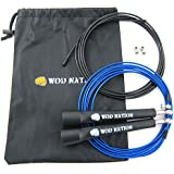 WOD Nation Speed Jump Rope - Blazing Fast Rope for Endurance training for Sports like Cross Fitness, Boxing, MMA, Martial Arts or Just Staying Fit - Fully Adjustable to Fit Men, Women and Children