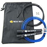 WOD Nation Speed Jump Rope - Blazing Fast Rope for Endurance training for Boxing, MMA, Martial Arts or Just Staying Fit + FREE Video Training - Fully Adjustable to Fit Men, Women and Children - BLACK